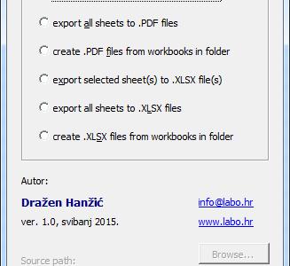Kako izraditi .PDF ili Excel datoteke (.XLSX) koje se sastoje od pojedinačnih Excel listova?