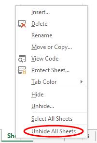 Sakrivanje svih Excel listova