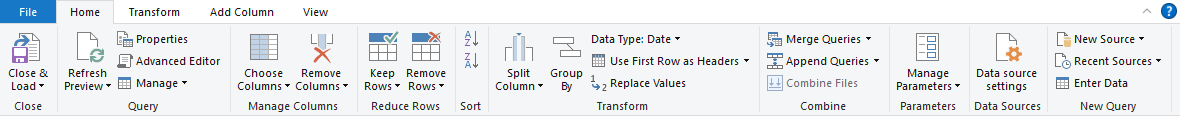 Excel Power Query Editor-Home