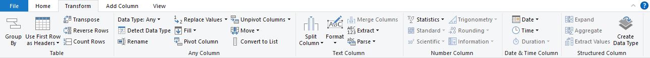 Excel Power Query Editor-Transform
