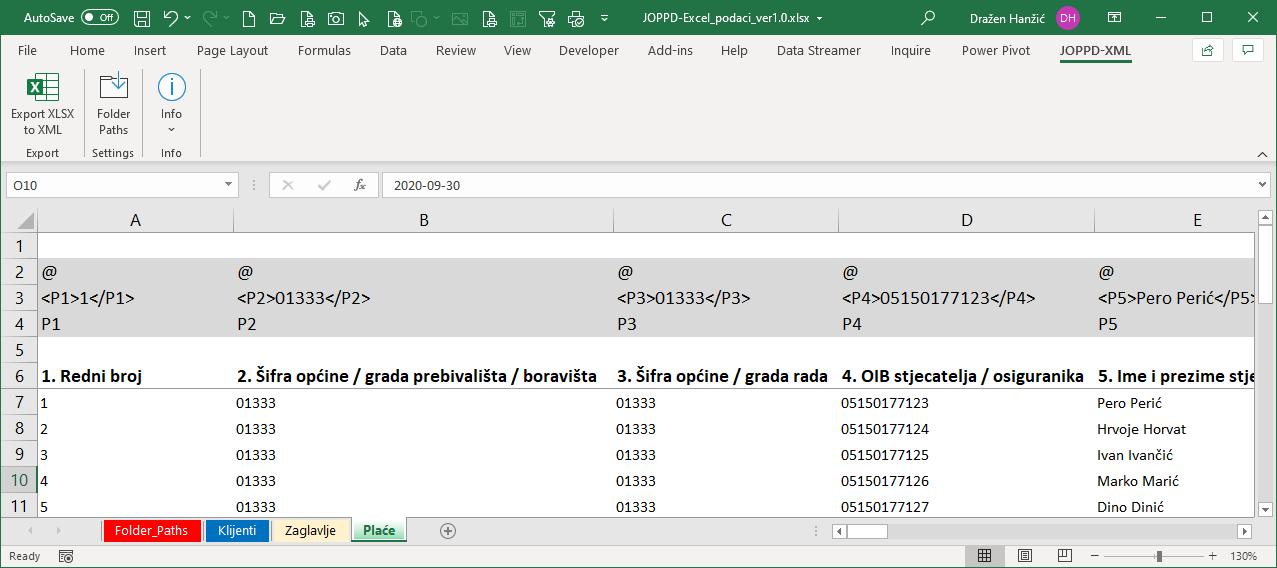 Excel JOPPD obrazac u XML