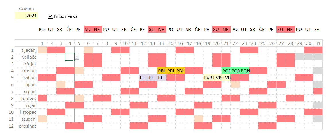 Kalendar u Excelu